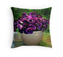 violet pansy Throw Pillow