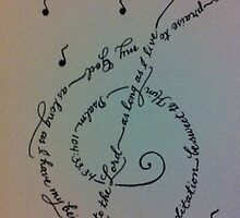 Treble clef  handwritten calligraphy art print by Melissa Goza