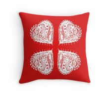 4 Hearts White Aussie Tangle - See Description Notes re Colour Options Throw Pillow