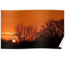 Orange Winter Sunrise - Chelmsford, UK Poster