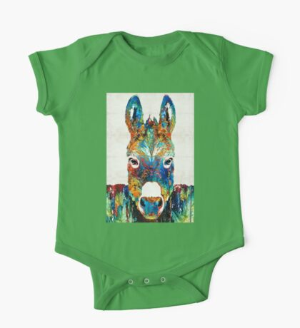 Colorful Donkey Art - Mr. Personality - By Sharon Cummings One Piece - Short Sleeve