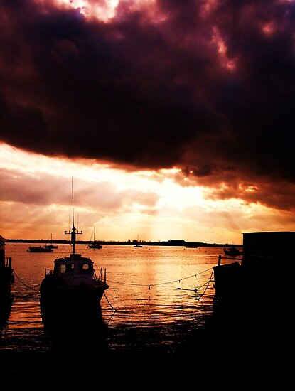 Dark Sunset Clouds & Boat at Burnham by MichelleRees