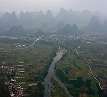Li River from a Balloon by Karen Millard