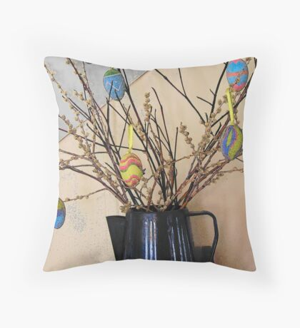 Pussy Willows and Easter Eggs Throw Pillow
