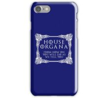 House Organa (white text) iPhone Case/Skin