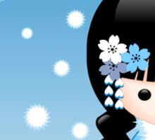 Japanese Winter Kokeshi Doll Sticker