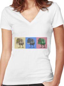 Three Little Robots Women's Fitted V-Neck T-Shirt