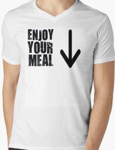 """""""Enjoy your meal"""", Slogan Mens V-Neck T-Shirt"""