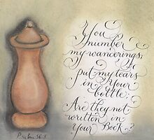 Scripture Psalm 56:8 calligraphy art  by Melissa Goza