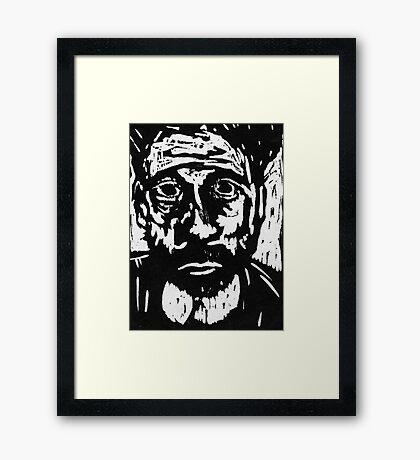 self portrait #3 in woodcut Framed Print