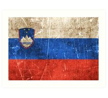 Vintage Aged and Scratched Slovenian Flag Art Print