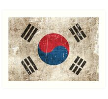 Vintage Aged and Scratched South Korean Flag Art Print
