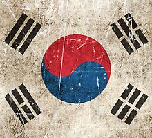 Vintage Aged and Scratched South Korean Flag by Jeff Bartels
