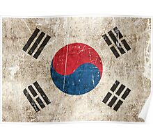 Vintage Aged and Scratched South Korean Flag Poster