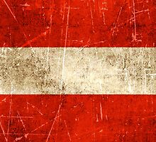 Vintage Aged and Scratched Austrian Flag by Jeff Bartels
