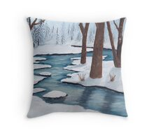 Winter Creek ~ Landscape ~ Oil Painting Throw Pillow