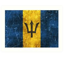 Vintage Aged and Scratched Barbados Flag Art Print