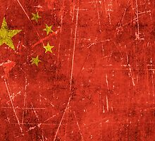 Vintage Aged and Scratched Chinese Flag by Jeff Bartels