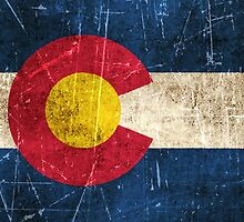 Vintage Aged and Scratched Colorado Flag by Jeff Bartels