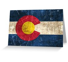 Vintage Aged and Scratched Colorado Flag Greeting Card