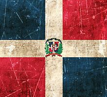 Vintage Aged and Scratched Dominican Republic Flag by Jeff Bartels