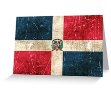 Vintage Aged and Scratched Dominican Republic Flag Greeting Card