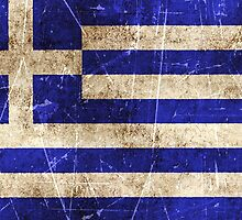 Vintage Aged and Scratched Greek Flag by Jeff Bartels