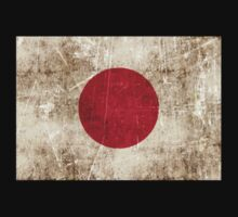 Vintage Aged and Scratched Japanese Flag Kids Tee
