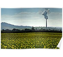 Smokestack landscape in watercolour Poster