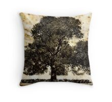 Sheep seeking protection against midday heat Throw Pillow
