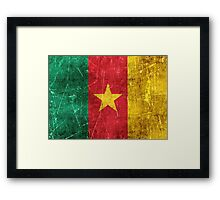 Vintage Aged and Scratched Cameroon Flag Framed Print