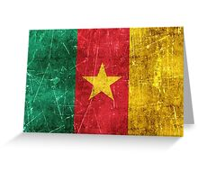 Vintage Aged and Scratched Cameroon Flag Greeting Card