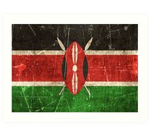 Vintage Aged and Scratched Kenyan Flag Art Print