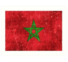 Vintage Aged and Scratched Moroccan Flag Art Print