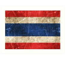 Vintage Aged and Scratched Thai Flag Art Print