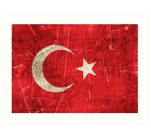 Vintage Aged and Scratched Turkish Flag Art Print