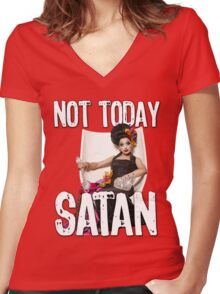 Not Today Satan! Women's Fitted V-Neck T-Shirt
