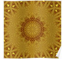 Golden Abstract Flowers Poster