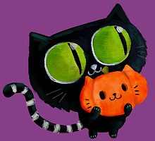 Cute Black Halloween Cat by colonelle