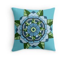 Mandala Flower: Blue/Green Throw Pillow