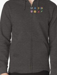 The Kanto Gym Badges Zipped Hoodie