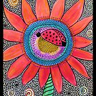 Ladybug Sunflower Watercolor Mosaic by GroovyGal