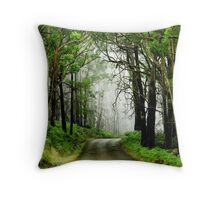 Foggy Forest Road Throw Pillow