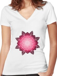 Floral Mandala: Pink/White Women's Fitted V-Neck T-Shirt