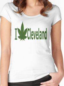 0129 I Love Cleveland  Women's Fitted Scoop T-Shirt