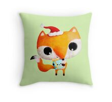 Cute Christmas Fox Throw Pillow