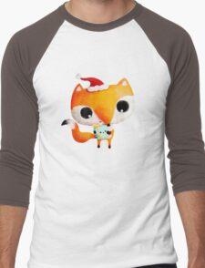 Cute Christmas Fox Men's Baseball ¾ T-Shirt