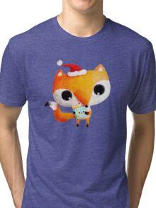 Cute Christmas Fox Tri-blend T-Shirt