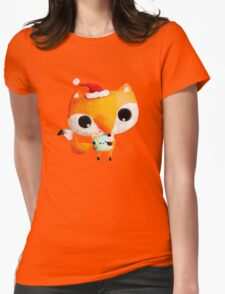 Cute Christmas Fox Womens Fitted T-Shirt