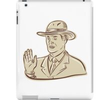 Businessman Fedora Hat Vintage Etching iPad Case/Skin